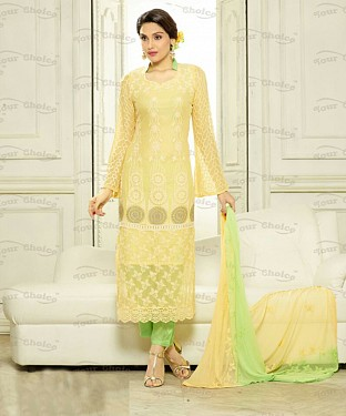 THANKAR CREAM CHIFFON PARTY WEAR STRAIGHT SUIT @ Rs1112.00
