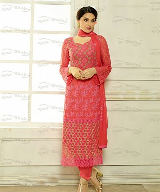 THANKAR PEACH CHIFFON PARTY WEAR STRAIGHT SUIT @ Rs1112.00