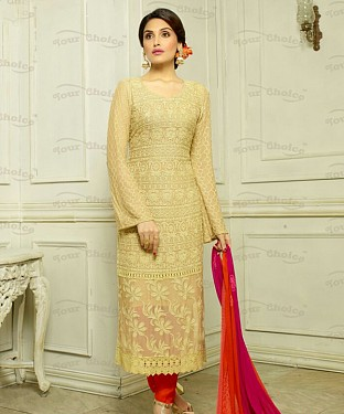 THANKAR YELLOW CHIFFON PARTY WEAR STRAIGHT SUIT @ Rs1421.00