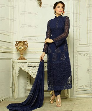THANKAR NAVY CHIFFON PARTY WEAR STRAIGHT SUIT @ Rs1112.00
