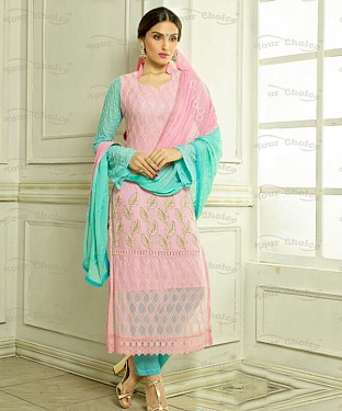 THANKAR PINK CHIFFON PARTY WEAR STRAIGHT SUIT @ Rs1421.00
