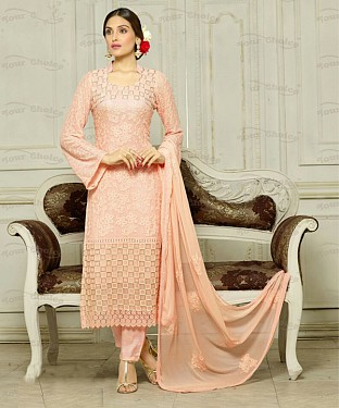 THANKAR LIGHT PINK CHIFFON PARTY WEAR STRAIGHT SUIT @ Rs1421.00