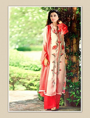 THANKAR CREAM GEORGETTE PARTY WEAR STRAIGHT SUIT @ Rs1668.00