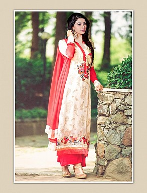 THANKAR OFF WHITE GEORGETTE PARTY WEAR STRAIGHT SUIT @ Rs1668.00