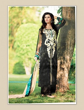 THANKAR BLACK GEORGETTE PARTY WEAR STRAIGHT SUIT @ Rs1668.00