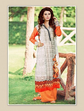 THANKAR OFF WHITE AND ORANGE GEORGETTE PARTY WEAR STRAIGHT SUIT @ Rs1668.00