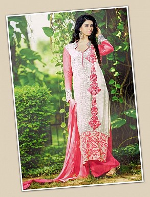 THANKAR WHITE AND PINK GEORGETTE PARTY WEAR STRAIGHT SUIT @ Rs1668.00