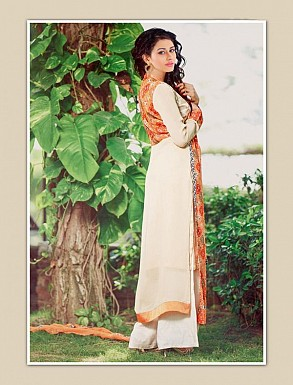 THANKAR ORANGE AND CREAM GEORGETTE PARTY WEAR STRAIGHT SUIT @ Rs1668.00