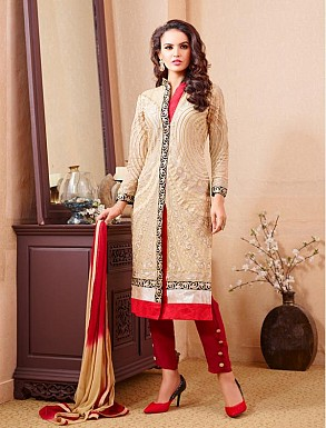 THANKAR BEIGE AND MAROON PARTY WEAR STRAIGHT SUIT @ Rs1668.00