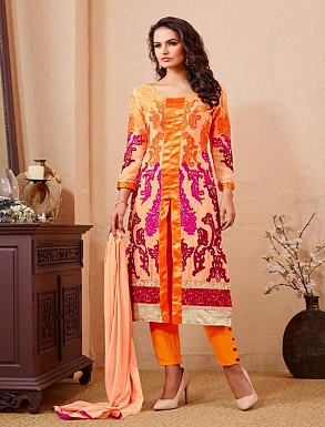 THANKAR ORANGE PARTY WEAR STRAIGHT SUIT @ Rs1668.00