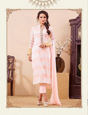 THANKAR LIGHT PINK PARTY WEAR STRAIGHT SUIT @ Rs1668.00