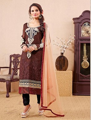 THANKAR BROWN PARTY WEAR STRAIGHT SUIT @ Rs1668.00