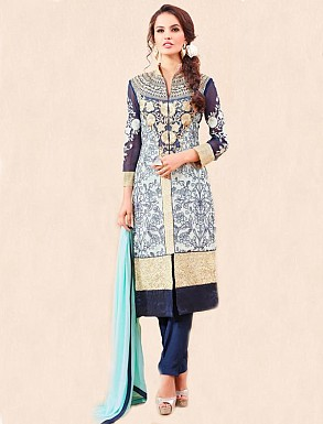 THANKAR NAVY PARTY WEAR STRAIGHT SUIT @ Rs1668.00