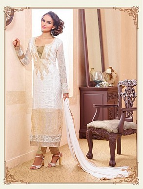 THANKAR OFF WHITE PARTY WEAR STRAIGHT SUIT @ Rs1668.00