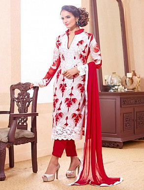 THANKAR WHITE AND RED PARTY WEAR STRAIGHT SUIT @ Rs1668.00