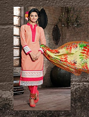 THANKAR PEACH COTTON JAQUARD PARTY WEAR STRAIGHT SUIT @ Rs1668.00