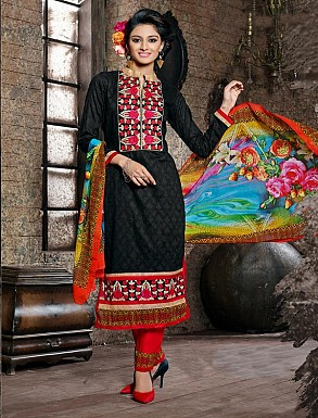 THANKAR BLACK COTTON JAQUARD PARTY WEAR STRAIGHT SUIT @ Rs1668.00