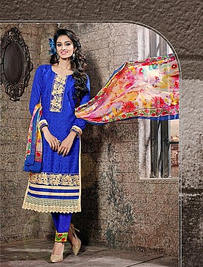 THANKAR BLUE COTTON JAQUARD PARTY WEAR STRAIGHT SUIT @ Rs1668.00