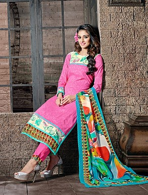 THANKAR PINK COTTON JAQUARD PARTY WEAR STRAIGHT SUIT @ Rs1668.00