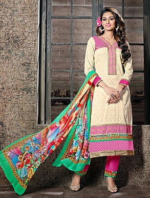THANKAR CREAM COTTON JAQUARD PARTY WEAR STRAIGHT SUIT @ Rs1668.00