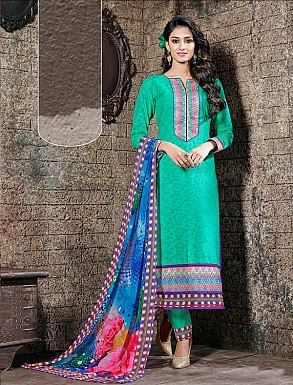 THANKAR GREEN COTTON JAQUARD PARTY WEAR STRAIGHT SUIT @ Rs1668.00