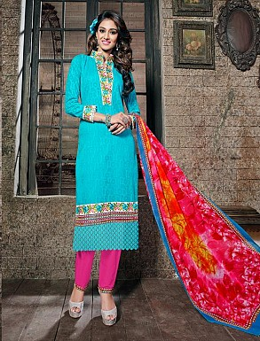 THANKAR SKY COTTON JAQUARD PARTY WEAR STRAIGHT SUIT @ Rs1668.00
