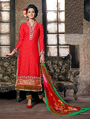 THANKAR RED COTTON JAQUARD PARTY WEAR STRAIGHT SUIT @ Rs1668.00