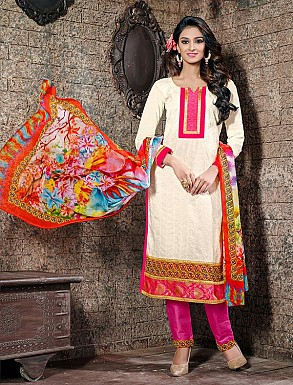 THANKAR OFF WHITE COTTON JAQUARD PARTY WEAR STRAIGHT SUIT @ Rs1668.00