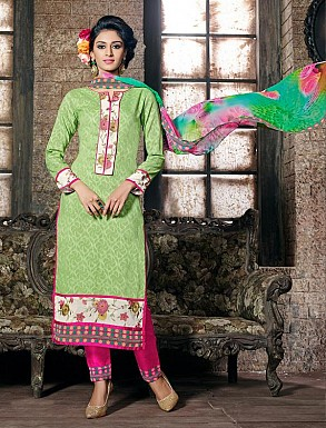 THANKAR PARROT COTTON JAQUARD PARTY WEAR STRAIGHT SUIT @ Rs1668.00