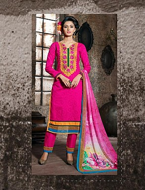 THANKAR DARK PINK COTTON JAQUARD PARTY WEAR STRAIGHT SUIT @ Rs1668.00