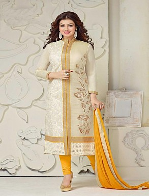 THANKAR OFF WHITE AND YELLOW CHANDERI COTTON STRAIGHT SUIT @ Rs1235.00