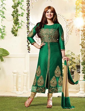THANKAR GREEN AND BEIGE COTTON STRAIGHT SUIT @ Rs1050.00