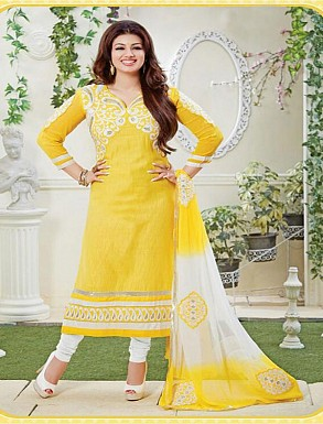 THANKAR YELLOW AND WHITE COTTON STRAIGHT SUIT @ Rs1235.00