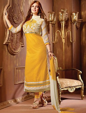 THANKAR YELLOW AND OFF WHITE COTTON STRAIGHT SUIT @ Rs1235.00