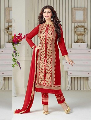 THANKAR RED COTTON STRAIGHT SUIT @ Rs1050.00