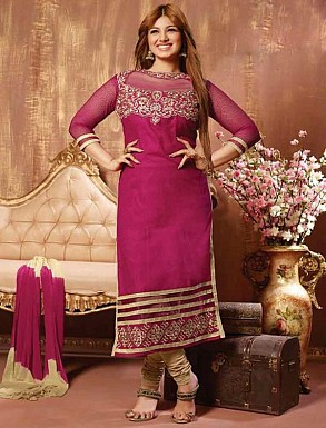 THANKAR DARK PINK COTTON STRAIGHT SUIT @ Rs1050.00