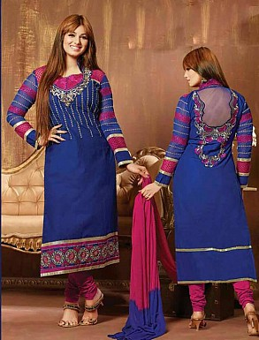 THANKAR BLUE AND PINK COTTON STRAIGHT SUIT @ Rs1235.00