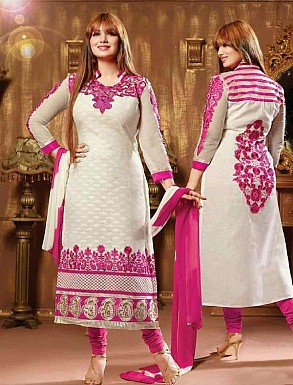 THANKAR PINK AND WHITE COTTON STRAIGHT SUIT @ Rs1235.00