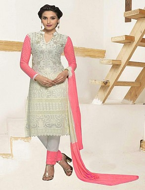 THANKAR WHITE AND PINK CHIFFON STRAIGHT SUIT @ Rs1235.00