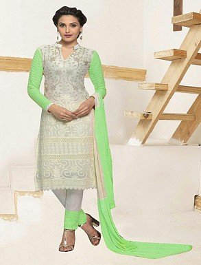 THANKAR WHITE AND PARROT CHIFFON STRAIGHT SUIT @ Rs1235.00