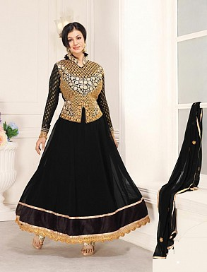 THANKAR BLACK CHIFFON STRAIGHT SUIT @ Rs1235.00