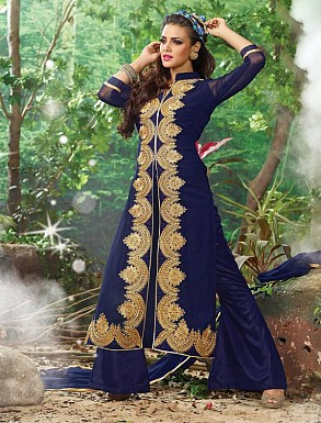 THANKAR NAVY CHIFFON STRAIGHT SUIT @ Rs1359.00