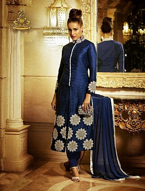THANKAR NAVY BLUE HEAVY EMBROIDERY STRAIGHT SUIT @ Rs1050.00