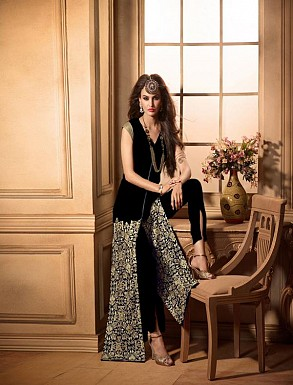 THANKAR BLACK HEAVY EMBROIDERY STRAIGHT SUIT @ Rs1235.00