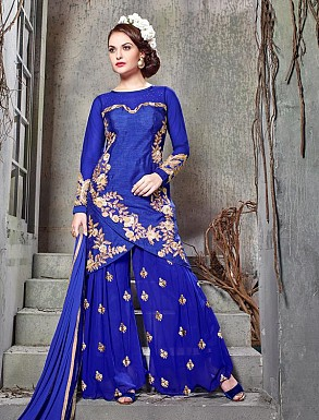 THANKAR BLUE BHAGALPURI SILK WITH EMBROIDERY STRAIGHT SUIT @ Rs2224.00