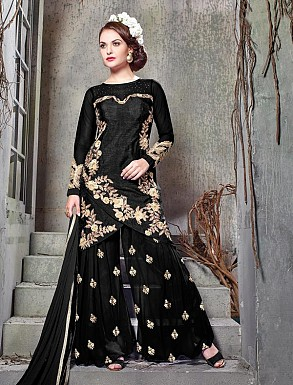 THANKAR BLACK BHAGALPURI SILK WITH EMBROIDERY STRAIGHT SUIT @ Rs2224.00