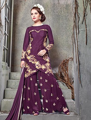 THANKAR PURPLE BHAGALPURI SILK WITH EMBROIDERY STRAIGHT SUIT @ Rs2224.00