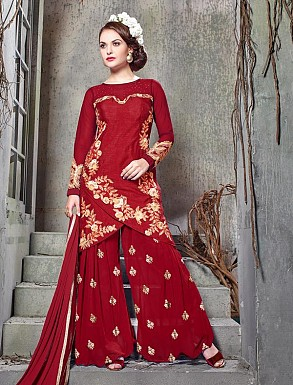 THANKAR RED BHAGALPURI SILK WITH EMBROIDERY STRAIGHT SUIT @ Rs2224.00