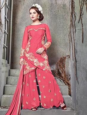 THANKAR PINK BHAGALPURI SILK WITH EMBROIDERY STRAIGHT SUIT @ Rs2224.00