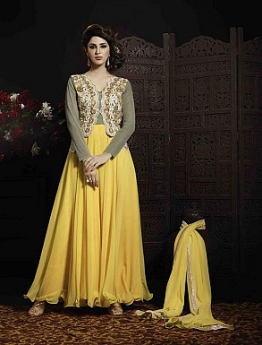 THANKAR YELLOW GEORGETTE AND NET HEVY EMBROIDERY ANARKALI SUIT @ Rs4634.00